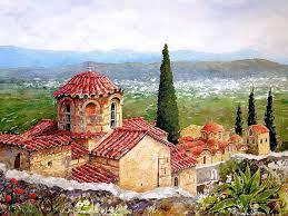 art images pantelis zografos 1949 watercolors of greek islands