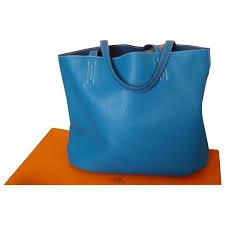 hermes shopping bag. hermès double sens shopping bag blue leather a94100 hermes