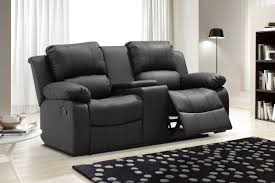 ufe zoey bonded leather reclining loveseat with center console black com
