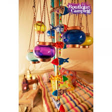 coloured tea light chandelier copper frame
