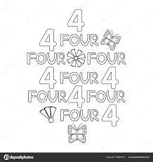 Cijfer Woord Vier Vlinder Bloemen Kleurplaat Vectorillustratie