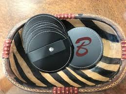 leather coasters set 6 black recycled leather personalized monogrammed laser engraved