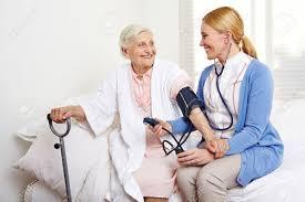 Geriatric Nursing Geriatric Nurse Measuring Blood Pressure Of Senior Citizen Woman