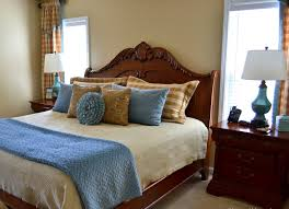 Bedroom:Elegant Master Bathroom With Blue Bedsheet And Brown Bed Ideas  Master Bedroom Decorating Ideas