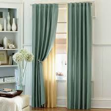 cool light blue curtains with sheer curtain