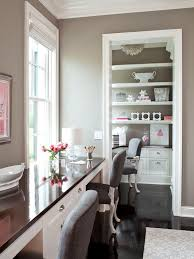 home office with grey walls and contrasting furniture