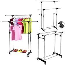 zimtown heavy duty double adjule portable clothes hanger rolling garment rack rail com