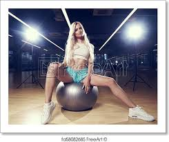 free art print of blonde woman sitting on swiss ball