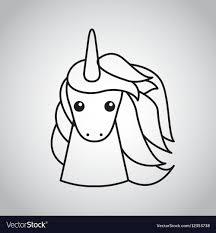drawing cute unicorn icon vector image