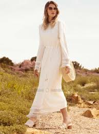 <b>White</b> - Ecru - Unlined - Crew neck - Cotton - <b>Plus Size Dress</b>