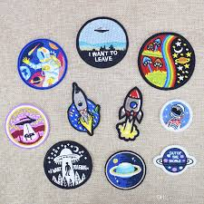 2018 space embroidered patches for clothing iron on transfer applique universe patch for jacket bags diy sew on embroidery kids stickers from kg2007