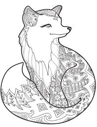Small Picture Zentangle Fox Coloring page Print Science Pinterest