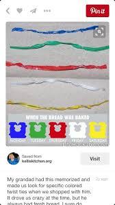 Bread Twist Tie Color Chart Bread Tie Colors Bread Twist Ties Bread Twists Bread Tie