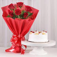 Red Roses Amp Pineapple Cake Combo Gift Delightful Divine