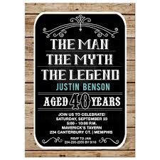 40th Birthday Invitations Man Myth Legend 40th Birthday Invitation 40 Year Old Man Birthday Invite