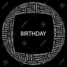 Birthday Word Collage On Black Background Illustration Royalty