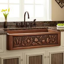 Kitchens With Farmhouse Sinks 36 Floral Design Copper Farmhouse Sink Kitchen