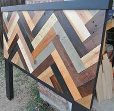 chevron painted furniture. Queen Size Chevron Patterned Headboard, Bedroom Ideas, Painted Furniture, Repurposing Upcycling Furniture