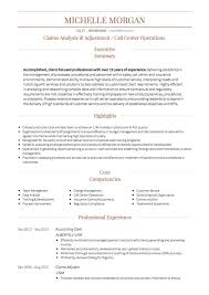 Call Center CV example