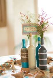 Wine Bottles Decorated With Flowers