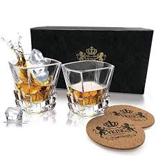 yking whiskey gles set of 2 gles and 2 coasters in premium gift box lead