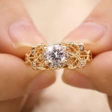 Fashion <b>Zircon Inlaid With Hollow</b> Design Rose Gold Color Wedding ...