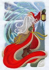 Art NOUVEAU SANTA CLAUS Machine Embroidery Quilt Block & Description.