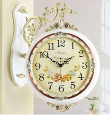retro double sides decorative vintage wooden wall clock fashion decorate home interior decoration rome large wall clocks large white wall clock from