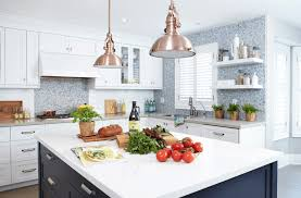 painted kitchen cabinet ideas blue and white tiles copper kitchen full size