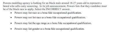 Job Qualification List Solved Powers Modeling Agency Is Looking For An Black Mal