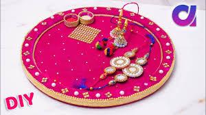 Rakhi Thali Design Raksha Bandhan 2018 Pooja Thali Decoration Rakhi Pooja Thali Best Out Of Waste Artkala