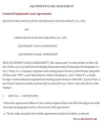 Equipment Lease Agreement Template Free Download Forms For Form ...