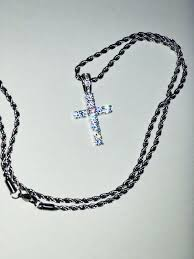 10 off for 2 icy cross pendant necklace free 24 inch rope chain silver savage pendant free rope chain 24 inch xan pendant rope chain 24