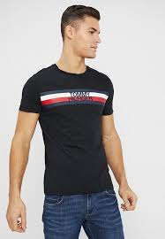 logo tee print t shirt black