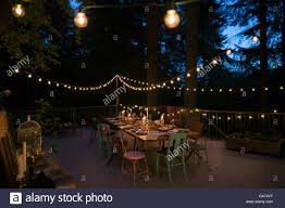 Balcony Lights String Lights And Candles On Balcony And Dining Table At