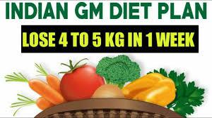Gm Diet Vegetarian Chart Indian Gm Diet Plan In Hindi Lose 5 Kg In 1 Week