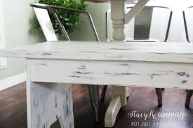 distressed white table. Distressed White Bench Table Stacy Risenmay