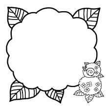 わく1白黒アジサイ花枠ふきだし無料イラスト素材