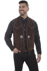 add to my lists scully leather handlaced concho vest