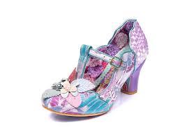 Light Purple High Heels Irregular Choice Windermere Light Purple Blue Floral T Strap Mid Heel Shoes