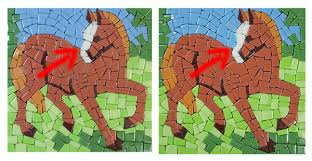 horse mosaic before versus after