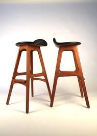 item condition pair of vine bar stools by od mobler by erik buch in very good vine condition circa sculptural all teak bar stools
