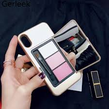 makeup mirror eye shadow palette phone case for apple iphone x 7 plus 8 plus 6 6s plus back cover with eyebrow powder pencil in ed cases from