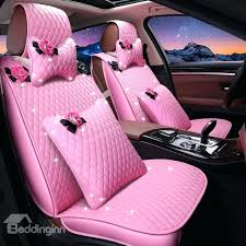 pink fluffy car seat covers girly lovely pink color waterproof durable leather universal car seat cover