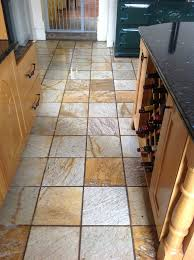 harston slate tiled floor before cleaning 1