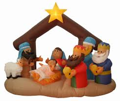 5 yard inflatable nativity w kings this 5 foot tall light up nylon airblown lawn inflatable nativity with le and three wisemen comes with an electric