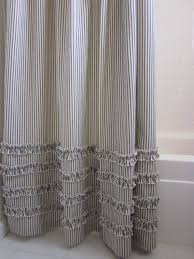 gray and blue shower curtain. vintage ticking stripe shower curtain with ruffles - 72x72 in stock black, gray, navy gray and blue h