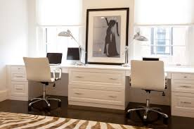 custom desks for home office. white home office with custom built desks for s