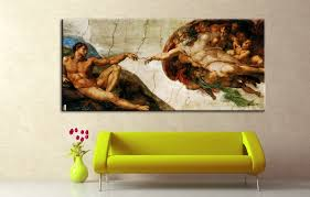 large canvas prints oil painting by michelangelo creation of adam famous art printed on canvas for wall home decor 5 police org