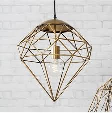 gold wire cage diamond pendant light